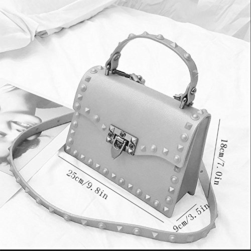Material Handbags Messenger Bag Bag Bag Bag Gray Joker Portable Handbag Buckle Korean Jelly Shoulder PU Shoulder Version Women's Liuding wzq0xAf0