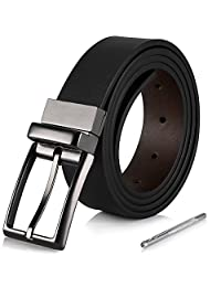 iAjudy Mens Leather Belt, Reversible Black Dress Belts for Men with Rotated Buckle 3.5CM Wide (110cm (waist 30-35), Black/Brown)