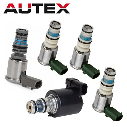 AUTEX 5PCS 5L40E Transmission Master Shift EPC TCC Lock Up Solenoids Control Valve Kit Set Compatible With BMW GM 1999-2003 96022804 10478146