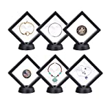 Ibeauti Coin Display Stand Set of 6 3D Floating Frame Display Holder with Stands for Challenge Coins, Jewelry, AA Medallions (Black)