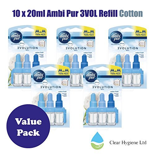 5 x 2 - 20ml Ambi Pur 3VOL Refill Twin Cotton