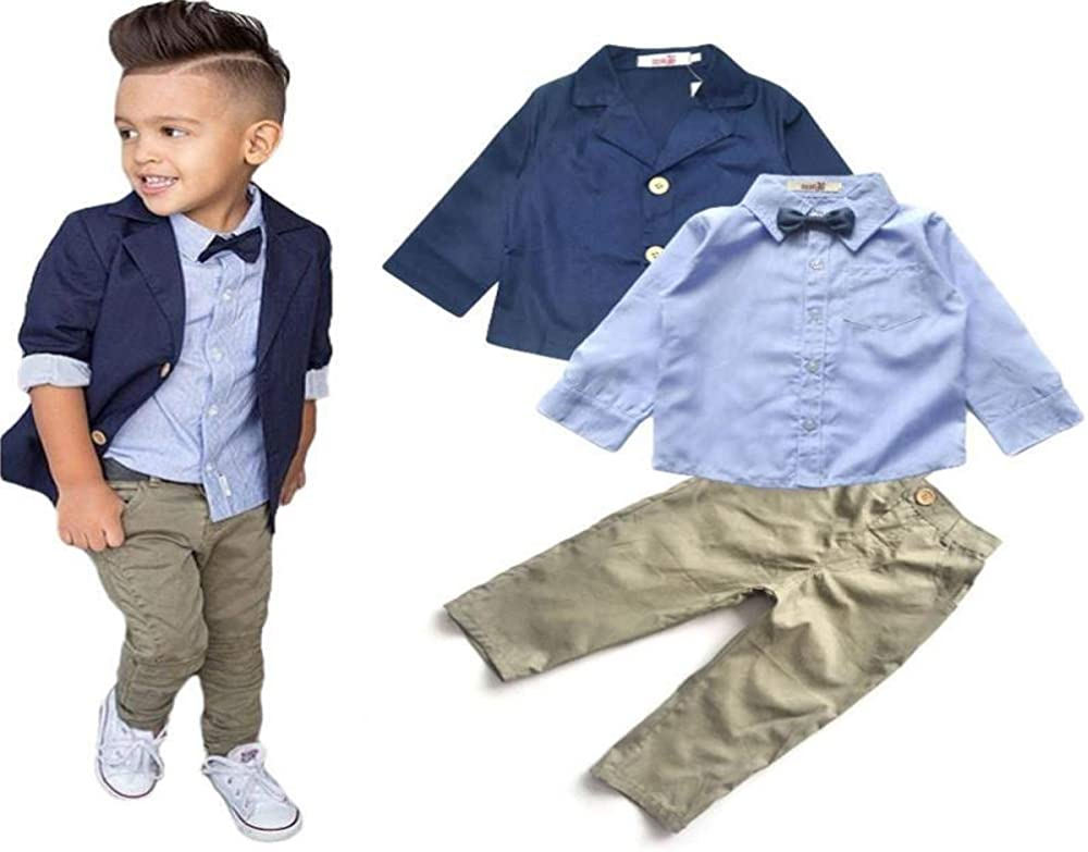 Boys Suit 3 Piece Set Boys Blazer Chinos Long Sleeve Shirt Smart Outfit