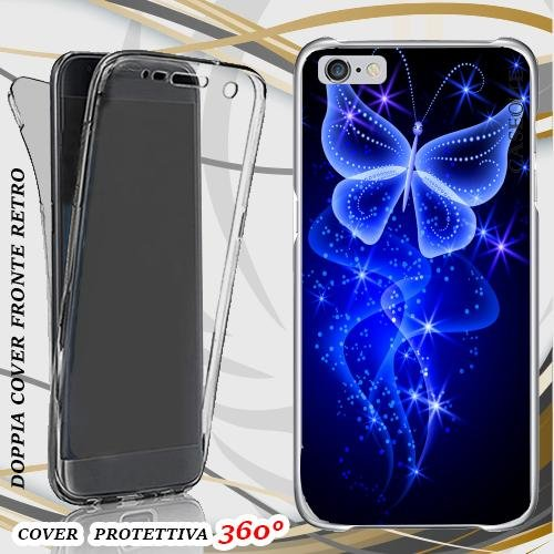 CUSTODIA COVER CASE BUTTERFLY NEON BLUE PER IPHONE 6 PLUS FRONT BACK