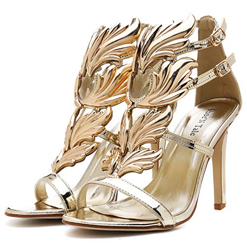 Shoe'N Tale Women's High Heel Gladiator Sandals Gold Flame Party Dress Stiletto Shoes (7 B(M) US, Gold) (Leaf Wing)