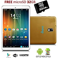 Indigi 7 Gold Tablet PC Android 4.2 Jelly Bean Leather Back HDMI 32GB MicroSD