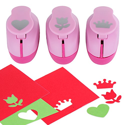 Paper Punch Hole Puncher -- (3 PACK Heart Tulip Crown) -- Personalized Paper Craft Punchers Shapes Set -- For Scrapbook Engraving Kids Artwork -- Greeting Card Making DIY Crafts by YazyCraft