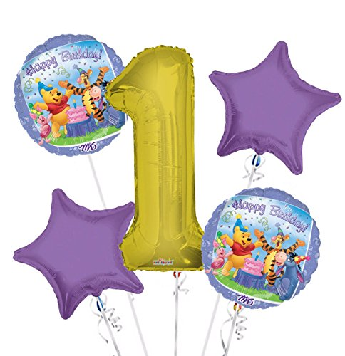 Winnie the Pooh Balloon Bouquet 1st Birthday 5 pcs - Party Supplies