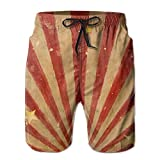 NTK0SKAI Mens Red and Yellow Stripes Board Shorts Funny Beach Pants XX-Large