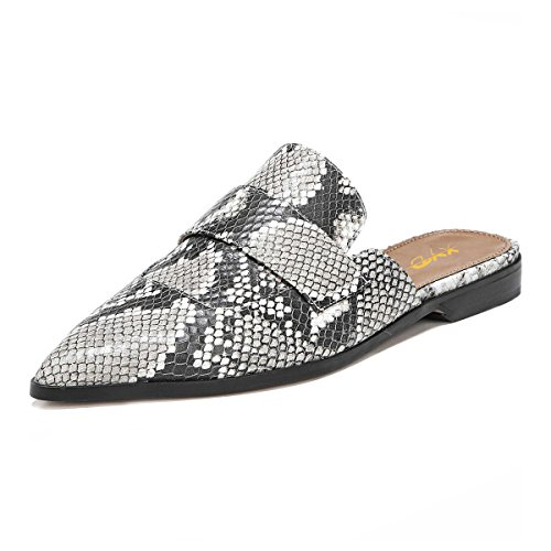 XYD Womens Retro Backless Slip On Loafers Flat Pointed Toe Mule Slipper Shoes Size 8 Snakeskin ()