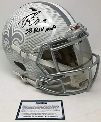 "DREW BREES Autographed""SB XLV MVP"" New Orleans Saints Authentic Riddell Speed Hydro Dipped Helmet STEINER"