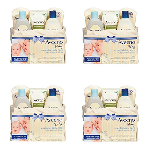 Aveeno Baby Mommy & Me Gift Set, Baby Skin Care Products (4 PACK) by Aveeno Baby Mommy & Me