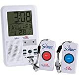 Secure SWCB-2 Wireless Two Nurse Call Button and Caregiver Receiver Patient Alert System w/LCD Time/Temp/Date/Alarm Function - 500+ ft Range