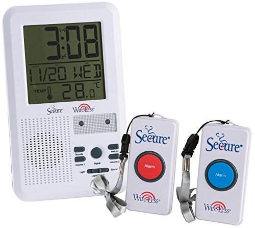 Secure SWCB-2 Wireless Two Call Button Caregiver Pager Nurse Alert Patient Call Alert System w/LCD Time/Temp/Date/Alarm Function - 500+ ft Range