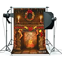 8x8ft Xmas Fireplace & Christmas Stocking Poly Fabric Photography Backdrop Customized Photo Background Studio Prop SDJ-008