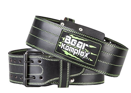 Genuine Leather Adjustable Weightlifting Belt: Heavy Duty Straight Weight Lifting Belt with 2 Prong Steel Buckle - Lower Back Support for Men or Women Weightlifters - 4 in Wide, 5 mm Thick - Black Med