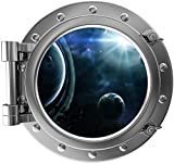 12'' Port Scape Instant Space Ship Window View SOLAR SYSTEM #2 SILVER Porthole Wall Sticker Graphic Decal Mural Kids Game Room Art Decor NEW