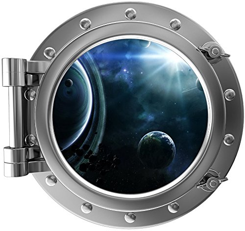 12'' Port Scape Instant Space Ship Window View SOLAR SYSTEM #2 SILVER Porthole Wall Sticker Graphic Decal Mural Kids Game Room Art Decor NEW by Stickit Graphix