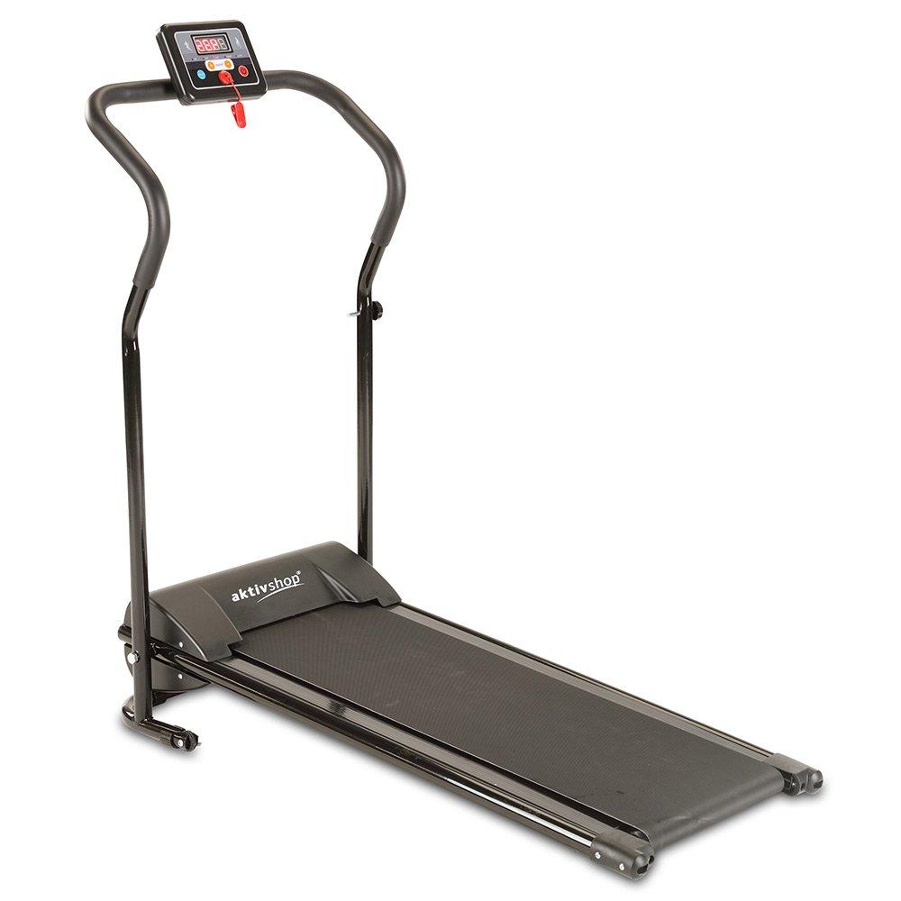 Aktivshop Laufband mit elektrischem Motor bis 10 km h, klappbar, Belastbarkeit bis 120 kg, übersichtlicher LCD-Display mit 3 Trainingsprogrammen und Sicherheits-Notstopp