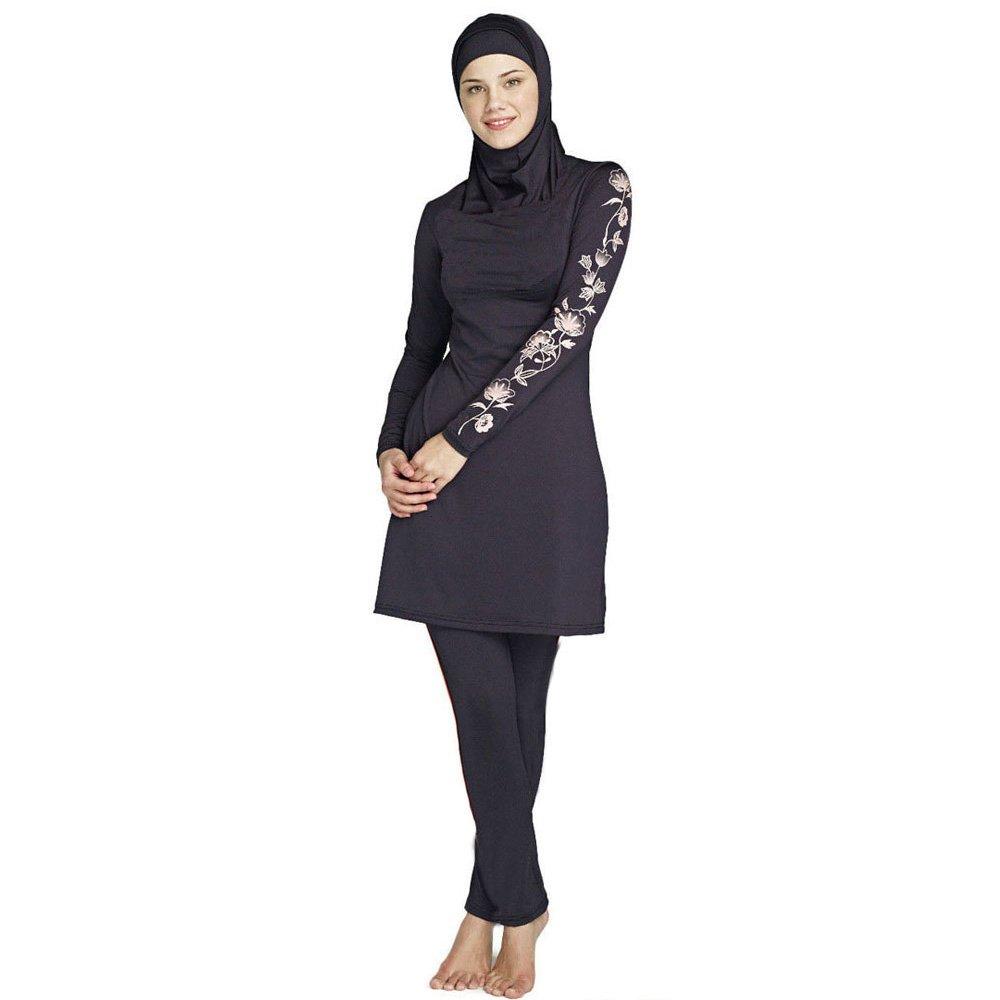 4272c118d52 Mr Lin123 Women Plus Size Printed Floral Muslim Swimwear Arab Islamic  Swimsuit Women Hijab Muslim Swimming Beachwear: Amazon.co.uk: Sports &  Outdoors