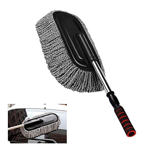 FOONEE Microfiber Car Cleaning Brush, Detachable Car Washing Brush with Telescopic Handle Car Wax Drag Car Duster Cleaning Tools