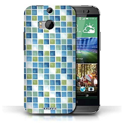 Etui / Coque pour HTC One/1 M8 / Bleu/Vert conception / Collection de Carreau Bain