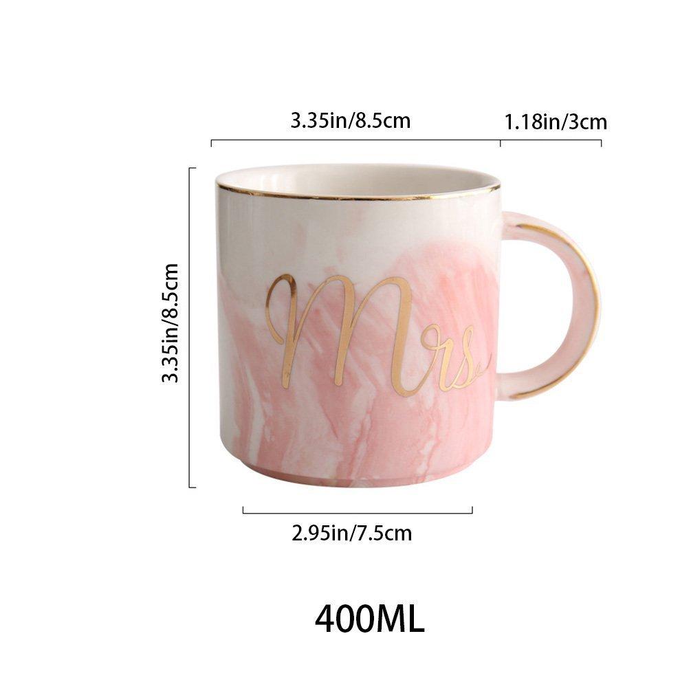 Einzigartig Marmor mit Goldenen Mustern Paare Geliebte Hochzeit 400ML YCOO Mr und Mrs Tassen Keramik Kaffeetassen Set von 2 Pink Grey