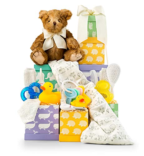 GiftTree Baby Tower | Includes Blanket, Bath Toys, Teethers, Grooming Tools, and More | Gender Neutral Basket | Great for Newborns and New Parents from GiftTree