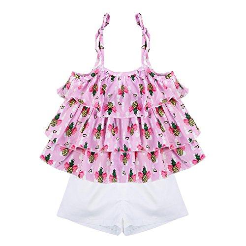 BOBORA Baby Girl Floral Ruffled Vest Tops T-Shirts+ Shorts 2 Pcs Clothing Sets
