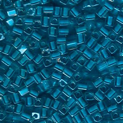 20Gr Color Lined Teal Miyuki 4mm Square Cube Glass Seed Beads
