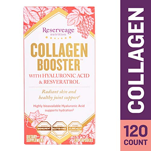 Collagen Enhancer - Reserveage - Collagen Booster, Supports Joint Health and Soft, Firm, and Youthful Skin to Help Reduce Wrinkles and Fine Lines with Resveratrol and Hyaluronic Acid, Gluten Free, 120 Capsule