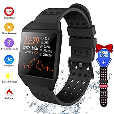 Smart Watch Heart Rate Monitor, Fitness Tracker Activity Tracker IP67 Waterproof SMS&SNS Reminder Tacking Sports Pedometer Watch with Sleep Monitor Step Tracker for Women Men iOS Android Phone
