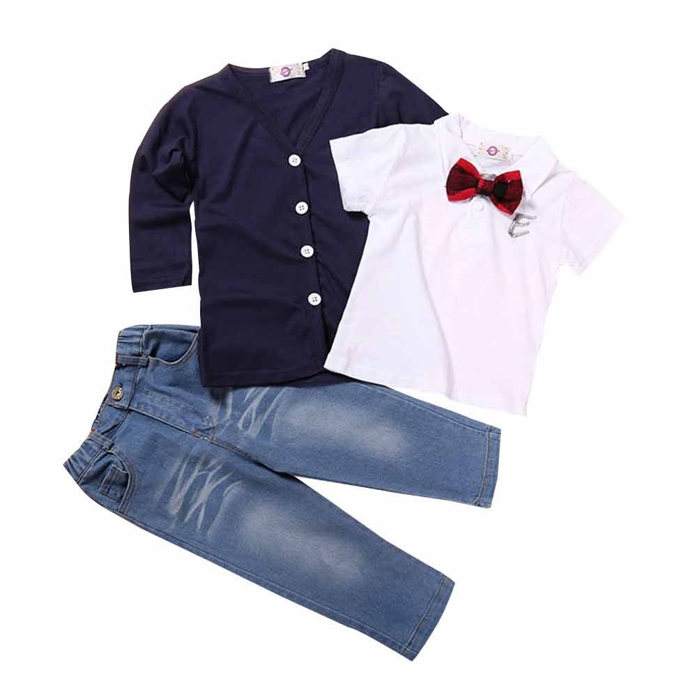 Kids Baby Boys 3Pcs Gentlemen Long Sleeve Bowtie Shirt Top+ Navy Coat+Denim Jeans
