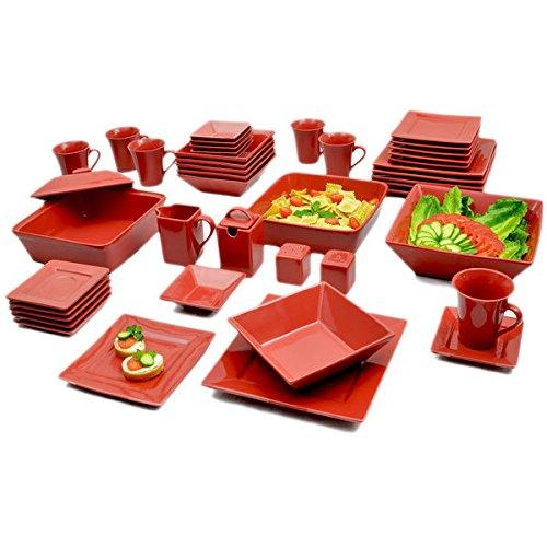 Vivo Red Square 45pc Dinner Set