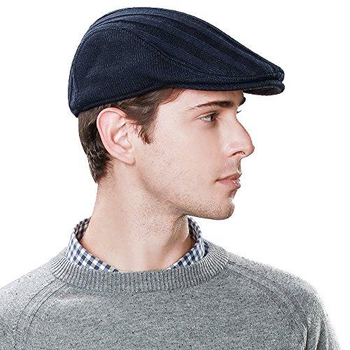 Irish Ivy Cap (Siggi Irish Wool Duckbill Ivy Flat Cap for Men Gatsby Driver Caps Hat Winter Navy XL Large)