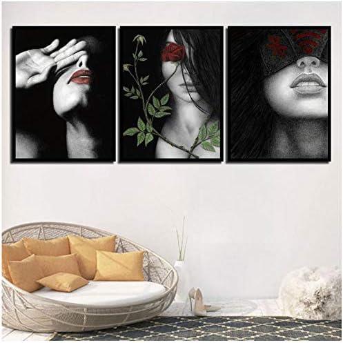 キャンバスノルディックダークポスタープリントブラックグレー女性絵画子供ベッドルーム壁アートワーク赤い唇ローズ写真ファッション-50x70x3Pcscmフレームなし
