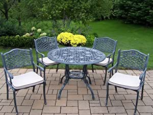 Oakland Living Tea Rose Cast Aluminum 42-Inch Table, 5-Piece Dining Set with Cushions