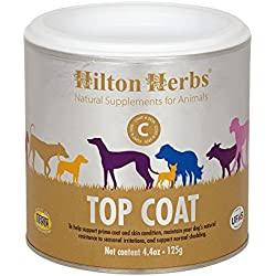 Hilton Herbs Canine Top Coat Supplement for Healthy Skin & Coat Condition in Dogs, 4.4 oz Tub