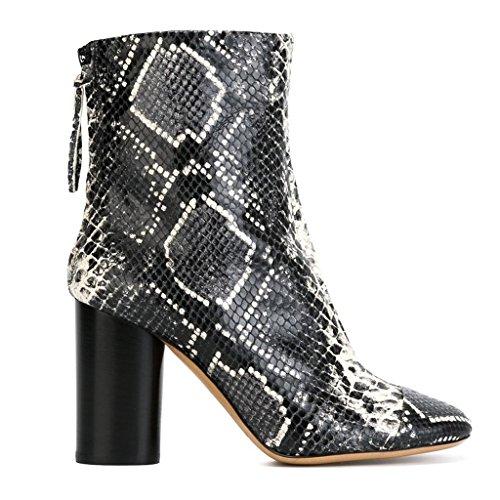 Señora tacones altos Botas de invierno de otoño Botas de trabajo Mostrar botas PU Artificial Zip Botas Zapatos 070816FD , Silver , 36 SILVER-40