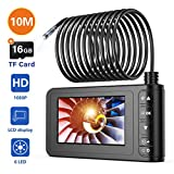 Industrial Endoscope, SKYBASIC 1080P HD Digital Borescope Camera Waterproof 4.3 Inch LCD Screen Snake Camera Video Inspection Camera with 6 LED Lights, Semi-Rigid Cable, 16GB TF Card and Tool (33FT)