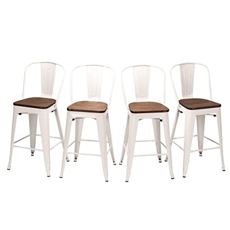 Enjoyable 26 High Back Metal Counter Stool Height Barstools Set Of 4 For Indoor Outdoor Bar Stools White Wooden Evergreenethics Interior Chair Design Evergreenethicsorg