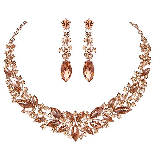 Youfir Austrian Crystal Rhinestone Bridal Wedding Necklace and Earrings Jewelry Sets for Women (Rose - Crystal Peach Necklace