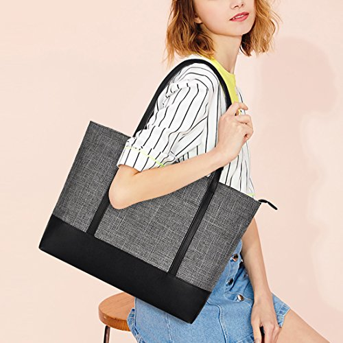 Laptop Bag,Multi Pockets Large Laptop Tote Bag,15.6 Inch Laptop Business Tote Bag for Women[gray] by Sunny Snowy (Image #1)