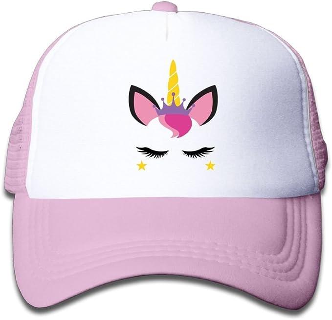 Mesh Baseball Hats Toddler Pretty Unicorn Face Eyelashes Lovely Adjustable