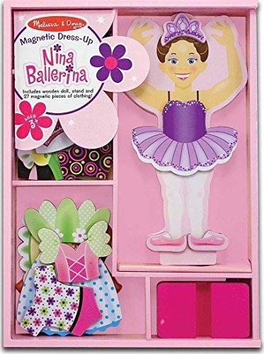 Nina Ballerina - Magnetic Dress Up Wooden Doll & Stand Magnetic Ballerina Doll