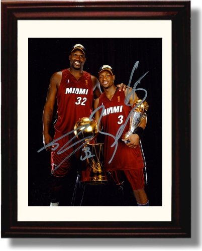 Framed Shaquille O'Neal and Dwayne Wade Autograph Replica Print - Miami Heat (Frame Oneal Shaquille)