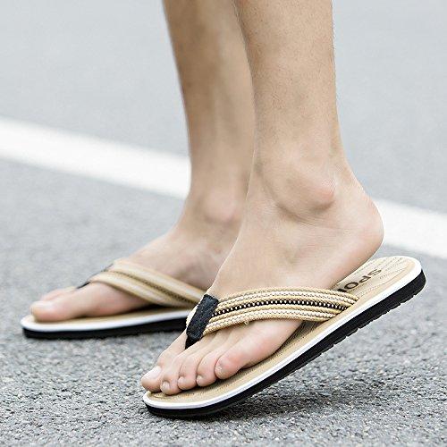 Beach - Pantoffeln, Holz Fischgräten - Flip - Flops, Männern Die Füße Rutschen, Schwarzen Gummi - Sandalen,Gelb,Eu45