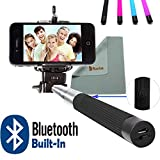 Rasfox® Extendable Universal Handheld Bluetooth Built-In Selfie Stick Monopod Pole. Suitable for iPhone 4s 5 5S 5C 6 6 plus , Samsung galaxy S3 S4 S5 mini Note 3 4 , and Other Devices up to 3.25 Inches in Width -- (Black)