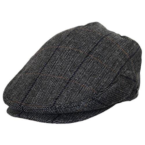 (Holborn Herringbone Plaid Wool Blend Ivy Cap (Small) Charcoal)