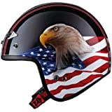 LS2 Helmets OF567 Open Face Motorcycle Helmet with Eagle Graphic (Gloss Black, Medium)