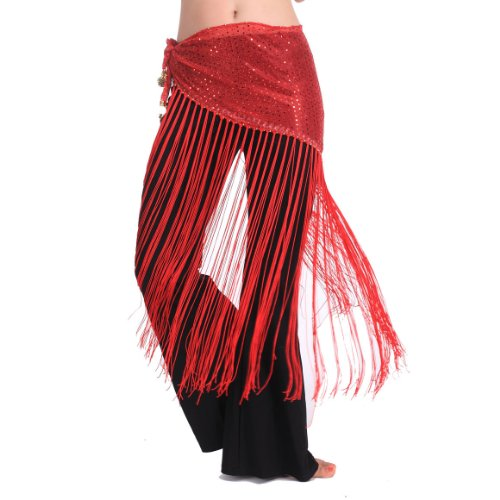 BellyLady Belly Dance Gypsy Tribal Belt with Fringe, Belly Dance Hip Scarf RED (Fringe Hip Belt)
